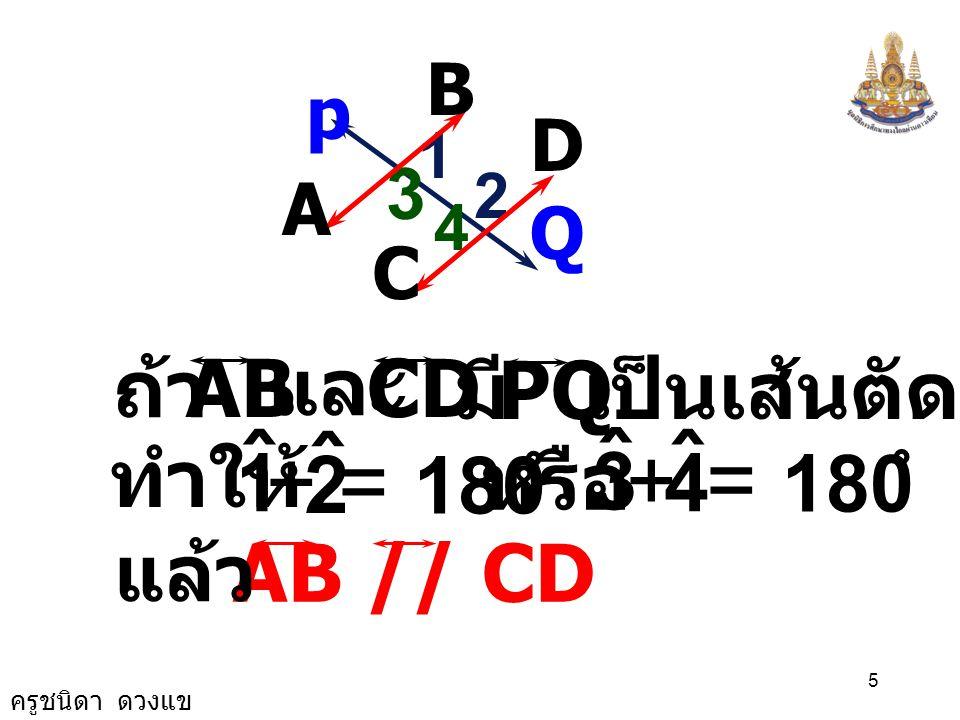 ครูชนิดา ดวงแข 4 ถ้าเส้นตรงสองเส้น ขนานกันและมี เส้นตัด แล้วขนาดมุม ภายในที่อยู่ บนข้างเดียวกันของ เส้นตัดรวมกัน เป็น 180 องศา 1 2 3 4 A PB DQ C 1 ˆ 2