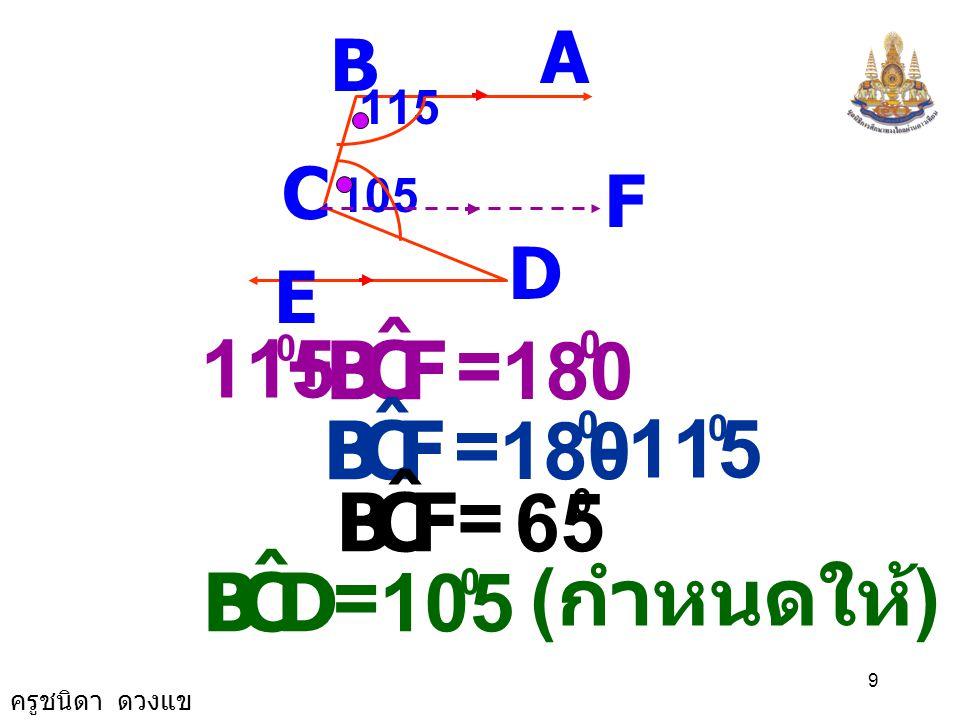 ครูชนิดา ดวงแข 8 ( ขนาดมุมภายในบนข้างเดียวกันของ เส้นตัดเส้นขนานรวมกันเท่ากับ 180 ) AB C D E 115 105 F CBA ˆ FCB ˆ += 180 0 พิสูจน์ ( กำหนดให้ ) BA //