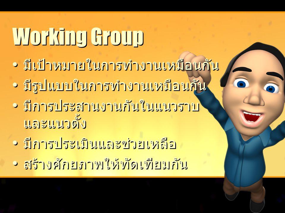Working Group มีเป้าหมายในการทำงานเหมือนกัน มีรูปแบบในการทำงานเหมือนกัน มีการประสานงานกันในแนวราบ และแนวตั้ง มีการประเมินและช่วยเหลือ สร้างศักยภาพให้ท