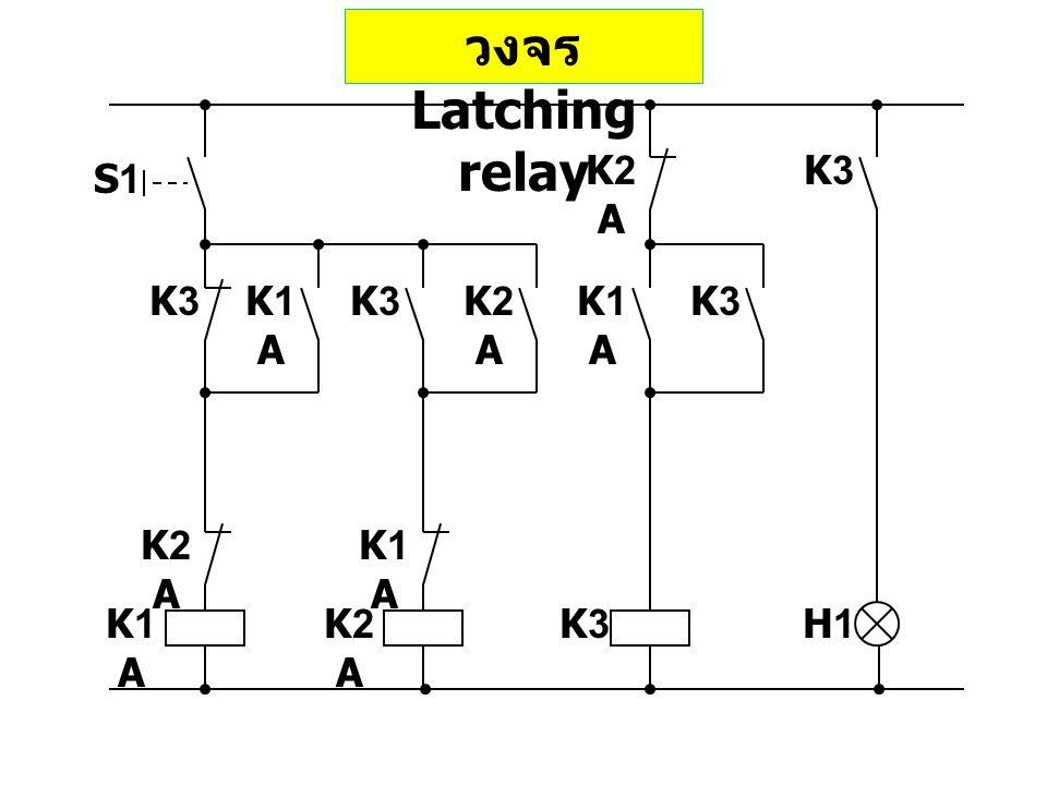 วงจร Latching relay S1 K1 A K2 A K3 H1 K1 A K2 A K1 A K2 A