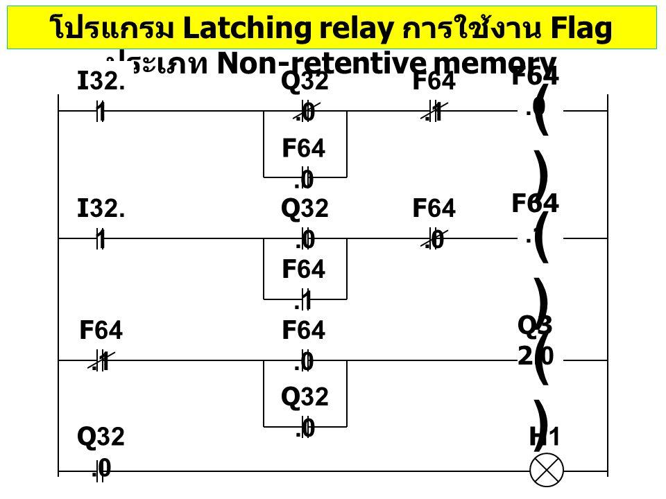 โปรแกรม Latching relay การใช้งาน Flag ประเภท Non-retentive memory Q32.0 ()() F64.0 ()() F64.1 I32. 1 ()() Q3 2.0 F64.1 F64.0 F64.1 F64.0 Q32.0 H1 I32.