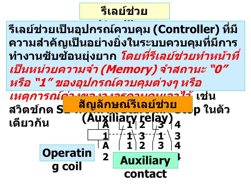 รีเลย์ช่วย (Auxiliary relay) รีเลย์ช่วยเป็นอุปกรณ์ควบคุม (Controller) ที่มี ความสำคัญเป็นอย่างยิ่งในระบบควบคุมที่มีการ ทำงานซับซ้อนยุ่งยาก โดยที่รีเลย