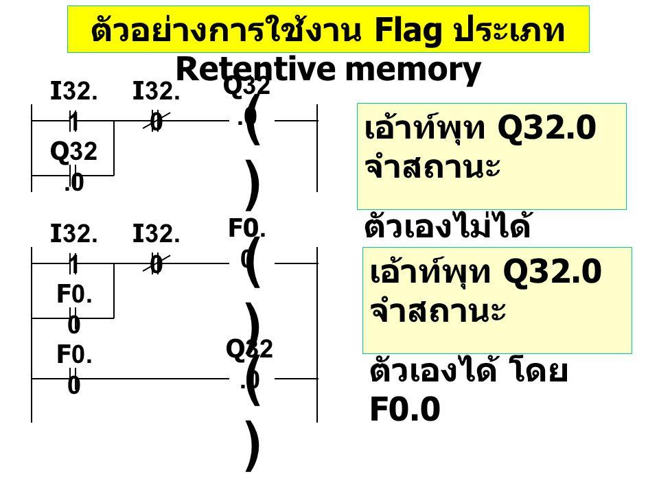 ตัวอย่างการใช้งาน Flag ประเภท Retentive memory เอ้าท์พุท Q32.0 จำสถานะ ตัวเองไม่ได้ ()() I32. 0 I32. 1 Q32.0 เอ้าท์พุท Q32.0 จำสถานะ ตัวเองได้ โดย F0.
