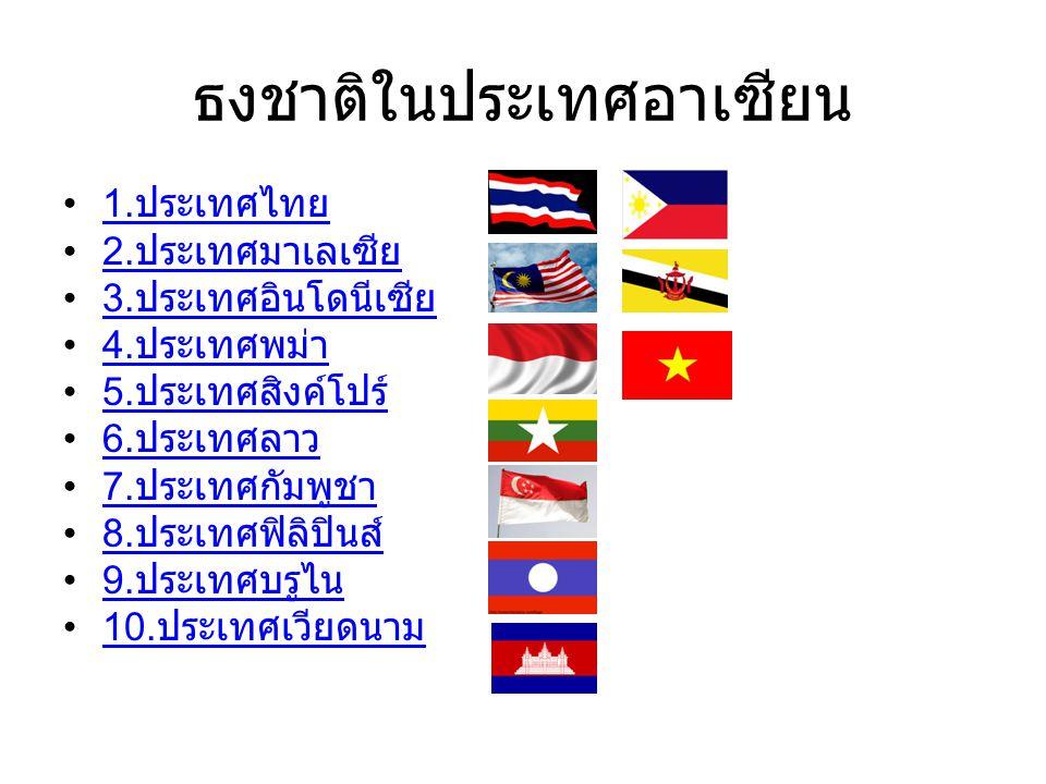 ธงชาติในประเทศอาเซียน 1.ประเทศไทย 1. ประเทศไทย 2.