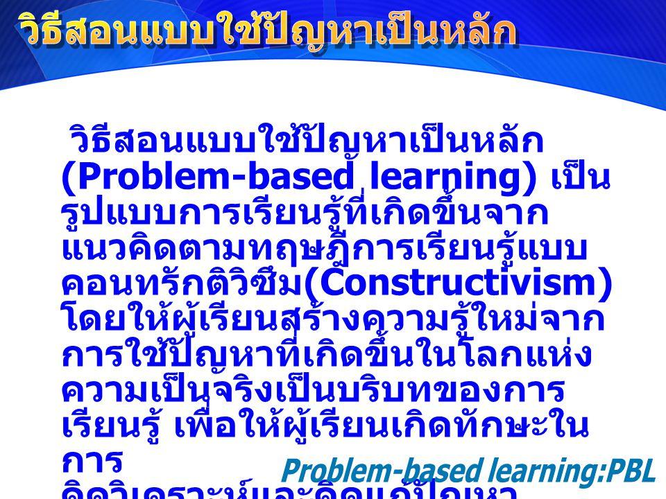 วิธีสอนแบบใช้ปัญหาเป็นหลัก (Problem-based learning) เป็น รูปแบบการเรียนรู้ที่เกิดขึ้นจาก แนวคิดตามทฤษฎีการเรียนรู้แบบ คอนทรักติวิซึม (Constructivism)