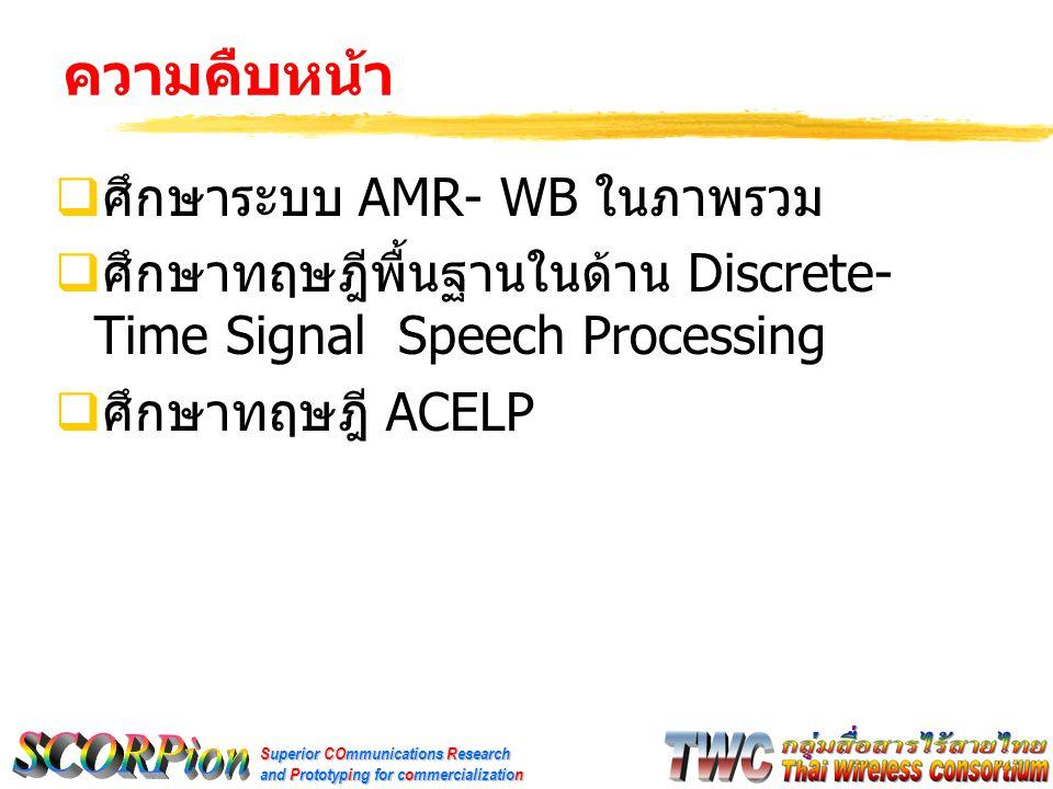 Superior COmmunications Research and Prototyping for commercialization ความคืบหน้า  ศึกษาระบบ AMR- WB ในภาพรวม  ศึกษาทฤษฎีพื้นฐานในด้าน Discrete- Ti