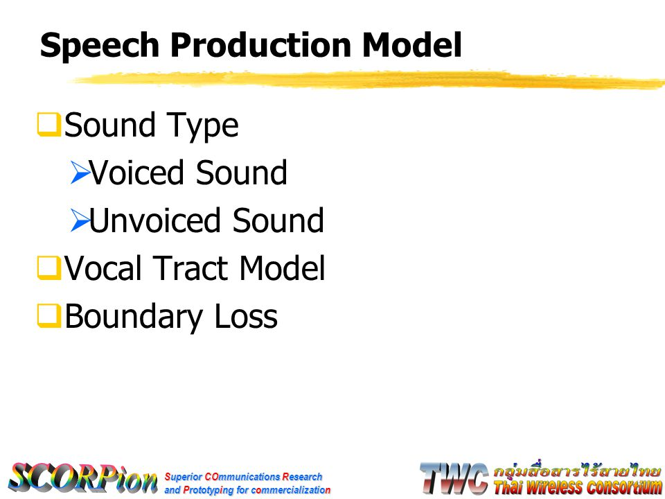 Superior COmmunications Research and Prototyping for commercialization Speech Production Model  Sound Type  Voiced Sound  Unvoiced Sound  Vocal Tract Model  Boundary Loss