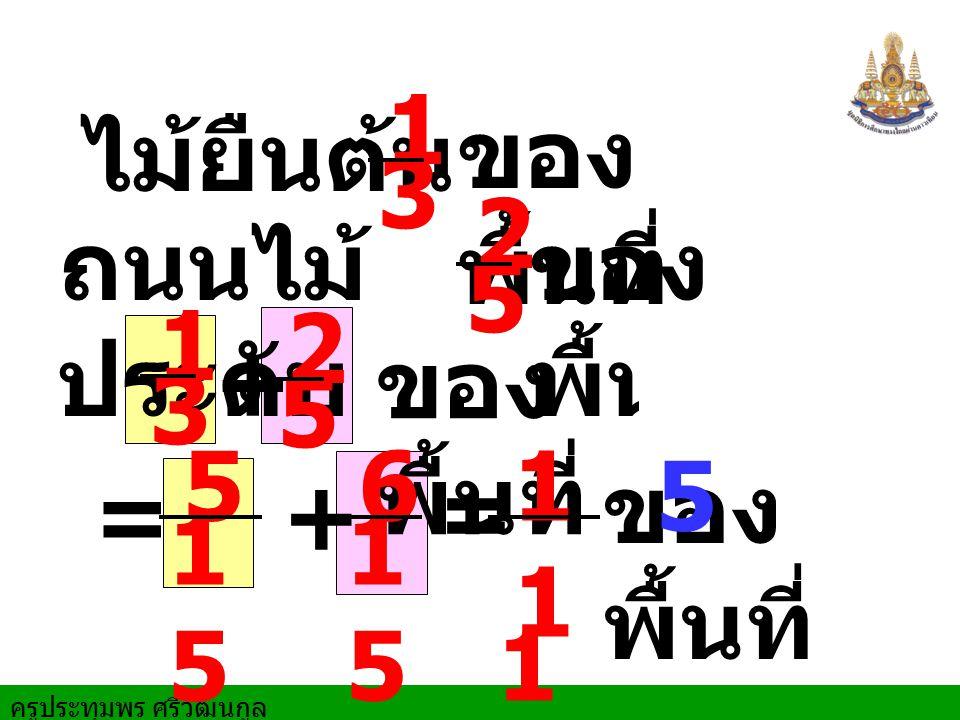 ครูประทุมพร ศรีวัฒนกูล ไม้ยืนต้น ของ พื้นที่ ถนนไม้ ประดับ 2 513 ของ พื้นที่ 1 3 2 5 + = ของ พื้นที่1 15 15 ของ พื้นที่ 5 1515 + 6 1515 = 1 5