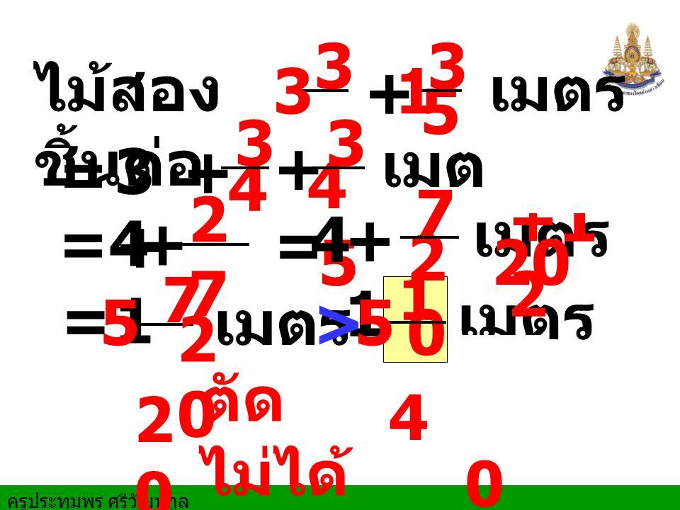 ครูประทุมพร ศรีวัฒนกูล ไม้สอง ชิ้นต่อ เมตร ตัด ไม่ได้ + 3 4 3 3 5 1 3 + 1 เมตร 7 20 20 5 = + 3 4 3 5 + เมตร =4+ 2727 20 20 = 4+ 1 7 2020 เมตร เมตร 1 4 5 = > 5 2020 15 +1 2 20