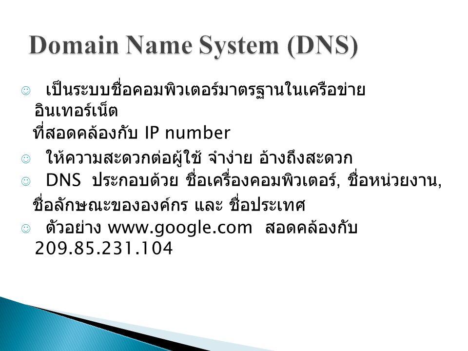 เป็นระบบชื่อคอมพิวเตอร์มาตรฐานในเครือข่าย อินเทอร์เน็ต ที่สอดคล้องกับ IP number ให้ความสะดวกต่อผู้ใช้ จำง่าย อ้างถึงสะดวก DNS ประกอบด้วย ชื่อเครื่องคอมพิวเตอร์, ชื่อหน่วยงาน, ชื่อลักษณะขององค์กร และ ชื่อประเทศ ตัวอย่าง www.google.com สอดคล้องกับ 209.85.231.104