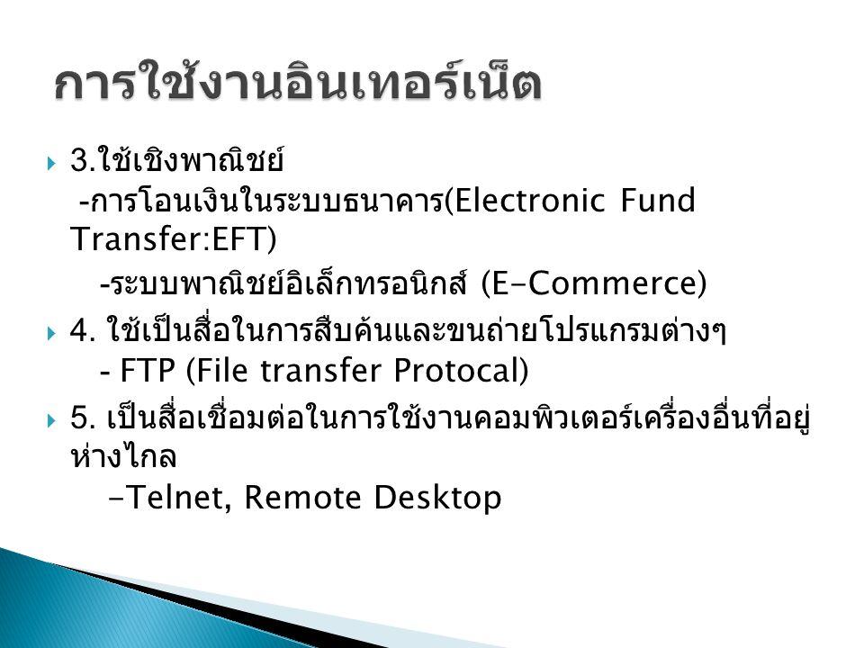 3. ใช้เชิงพาณิชย์ - การโอนเงินในระบบธนาคาร (Electronic Fund Transfer:EFT) - ระบบพาณิชย์อิเล็กทรอนิกส์ (E-Commerce)  4. ใช้เป็นสื่อในการสืบค้นและขนถ