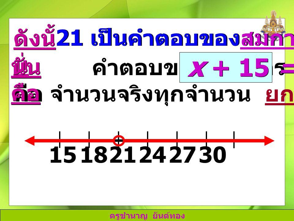 ครูชำนาญ ยันต์ทอง 211827243015 คำตอบของอสมการ คือ จำนวนจริงทุกจำนวน ยกเว้น 21 ดังนั้ น นั่น คือ 21 เป็นคำตอบของสมการ x + 15 = 36 x + 15 = 36