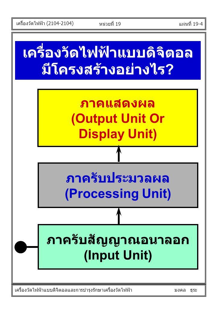 แผ่นที่ 19-4หน่วยที่ 19 เครื่องวัดไฟฟ้าแบบดิจิตอล มีโครงสร้างอย่างไร ? ภาครับสัญญาณอนาลอก (Input Unit) ภาครับประมวลผล (Processing Unit) ภาคแสดงผล (Out
