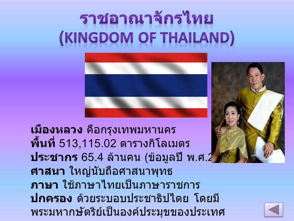 เมืองหลวง คือกรุงเทพมหานคร พื้นที่ 513,115.02 ตารางกิโลเมตร ประชากร 65.4 ล้านคน ( ข้อมูลปี พ. ศ.2553) ศาสนา ใหญ่นับถือศาสนาพุทธ ภาษา ใช้ภาษาไทยเป็นภาษ