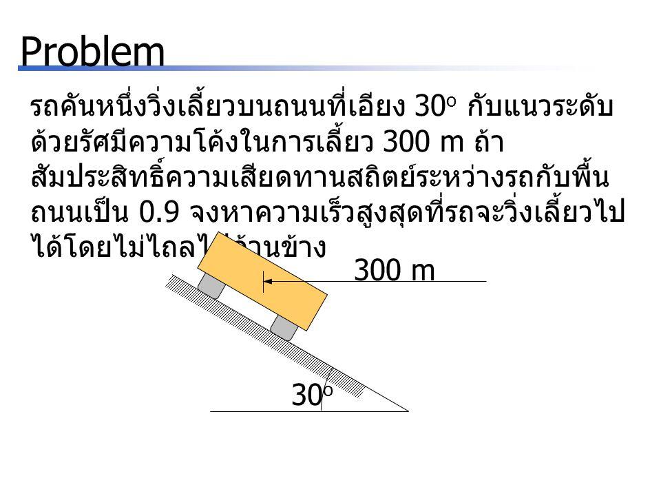 Problem รถคันหนึ่งวิ่งเลี้ยวบนถนนที่เอียง 30 o กับแนวระดับ ด้วยรัศมีความโค้งในการเลี้ยว 300 m ถ้า สัมประสิทธิ์ความเสียดทานสถิตย์ระหว่างรถกับพื้น ถนนเป