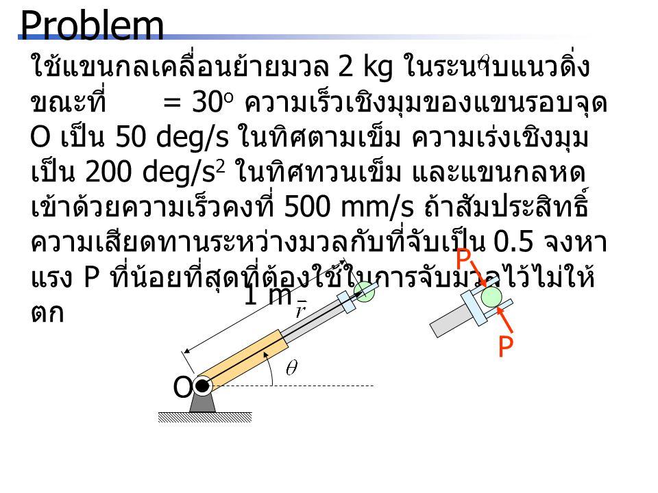 Problem ใช้แขนกลเคลื่อนย้ายมวล 2 kg ในระนาบแนวดิ่ง ขณะที่ = 30 o ความเร็วเชิงมุมของแขนรอบจุด O เป็น 50 deg/s ในทิศตามเข็ม ความเร่งเชิงมุม เป็น 200 deg