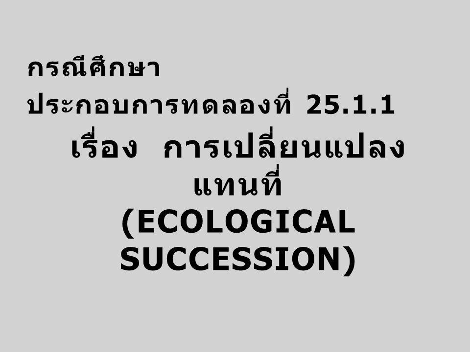 กรณีศึกษา ประกอบการทดลองที่ 25.1.1 เรื่อง การเปลี่ยนแปลง แทนที่ (ECOLOGICAL SUCCESSION)