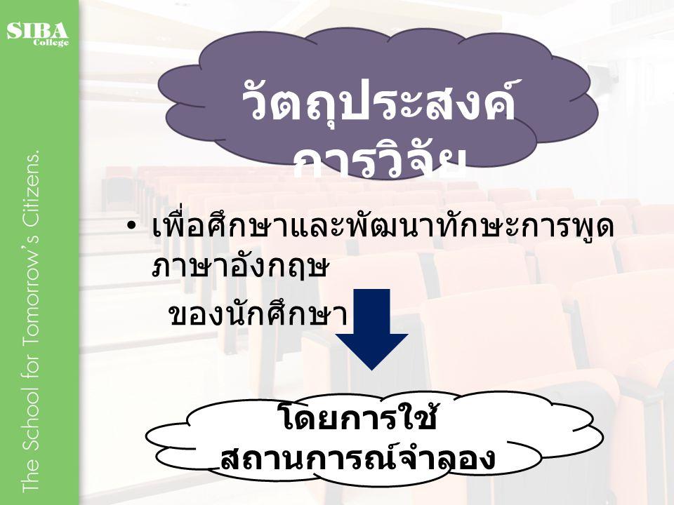 กรอบแนวคิดใน การวิจัย เนื้อหาการเรียนการ สอน วิชา ภาษาอังกฤษเพื่อการ โรงแรม การจัดกระบวนการฝึก ทักษะการพูด ภาษาอังกฤษโดยใช้ สถานการณ์จำลอง ผู้เรียนเกิดการพัฒนา ทักษะ การพูด ภาษาอังกฤษอย่างมี ประสิทธิภาพ