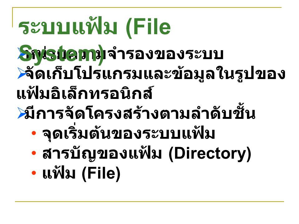  ระบบปฏิบัติการ Unix มีจุดเริ่มต้น จุดเดียว ชื่อ Root สัญลักษณ์ /  ระบบปฏิบัติการ Windows มี จุดเริ่มต้นที่ Drive A: เป็น Diskette Drive ตัวแรก C: เป็น Hard Disk ตัวแรก แต่ละ Drive มีจุดเริ่มต้นเป็น ของตนเอง ชื่อ Root สัญลักษณ์ \ จุดเริ่มต้นของระบบ แฟ้ม
