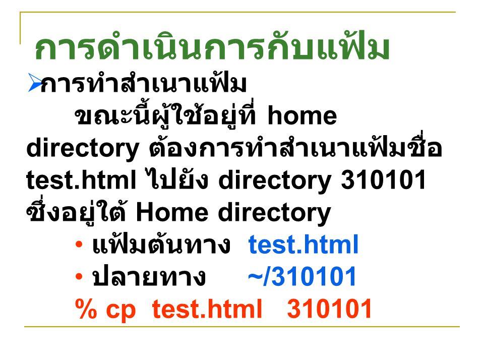  การทำสำเนาแฟ้ม ขณะนี้ผู้ใช้อยู่ที่ home directory ต้องการทำสำเนาแฟ้มชื่อ test.html ไปยัง directory 310101 ซึ่งอยู่ใต้ Home directory แฟ้มต้นทาง test
