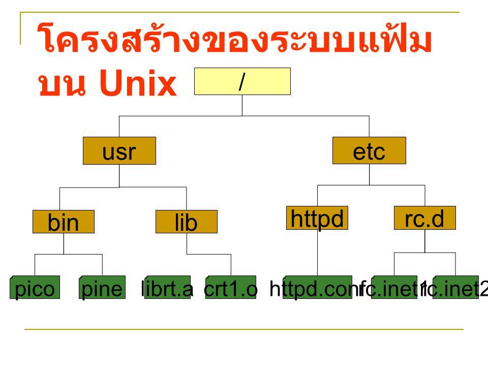 คำสั่ง [-option] คำสั่ง – ต้องการทำงานใด [-option] – ต้องการให้คำสั่งนั้น มีผลพิเศษอย่างไร มีหรือไม่ก็ได้ - ต้องการทำคำสั่ง นั้นดำเนินการกับสิ่งใด รูปแบบของคำสั่งใน ระบบปฏิบัติการ Unix