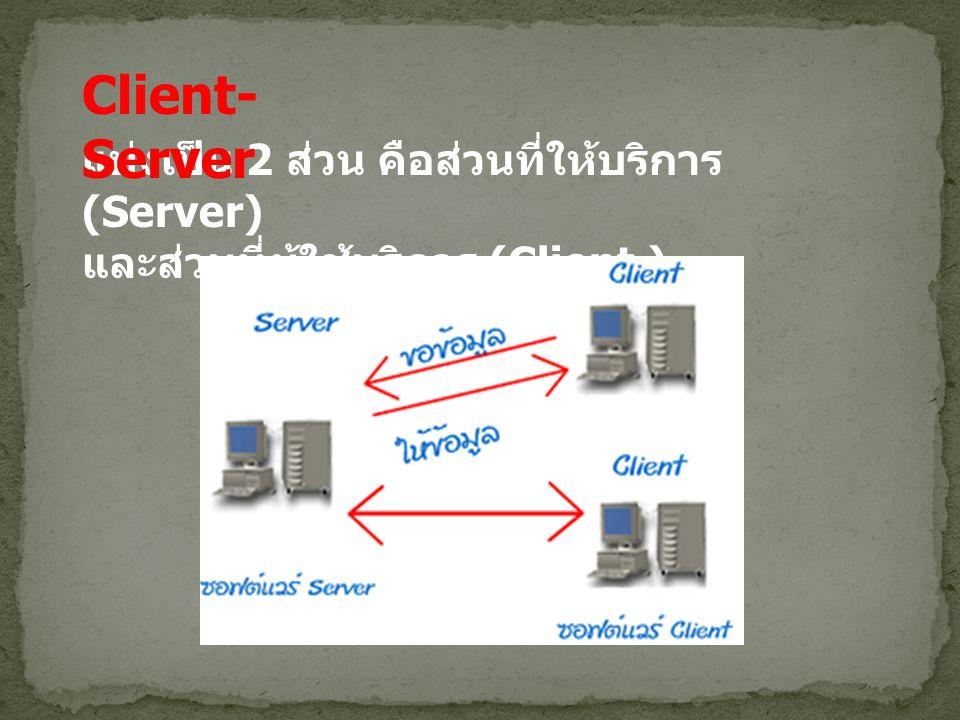 แบ่งเป็น 2 ส่วน คือส่วนที่ให้บริการ (Server) และส่วนที่ผู้ใช้บริการ (Client.) Client- Server