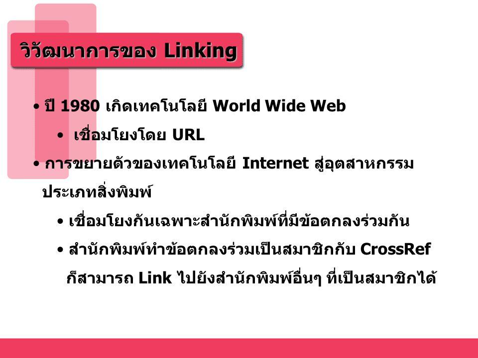 วิวัฒนาการของ Linking ปี 1980 เกิดเทคโนโลยี World Wide Web เชื่อมโยงโดย URL การขยายตัวของเทคโนโลยี Internet สู่อุตสาหกรรม ประเภทสิ่งพิมพ์ เชื่อมโยงกันเฉพาะสำนักพิมพ์ที่มีข้อตกลงร่วมกัน สำนักพิมพ์ทำข้อตกลงร่วมเป็นสมาชิกกับ CrossRef ก็สามารถ Link ไปยังสำนักพิมพ์อื่นๆ ที่เป็นสมาชิกได้