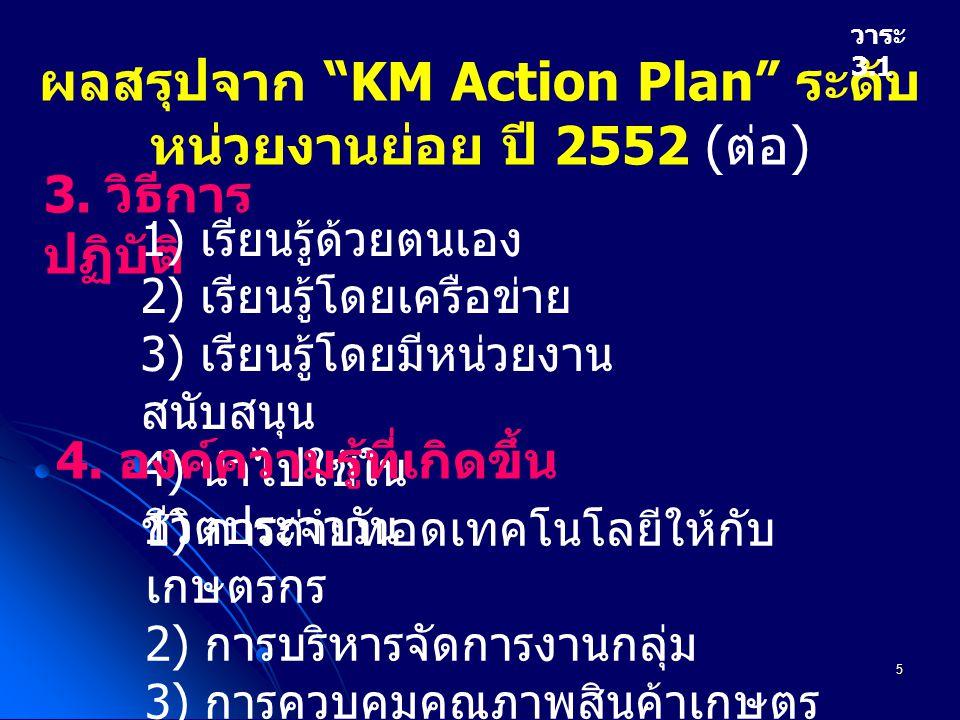 6 ผลสรุปจาก KM Action Plan ระดับ หน่วยงานย่อย ปี 2552 ( ต่อ ) วาระ 3.1 5.