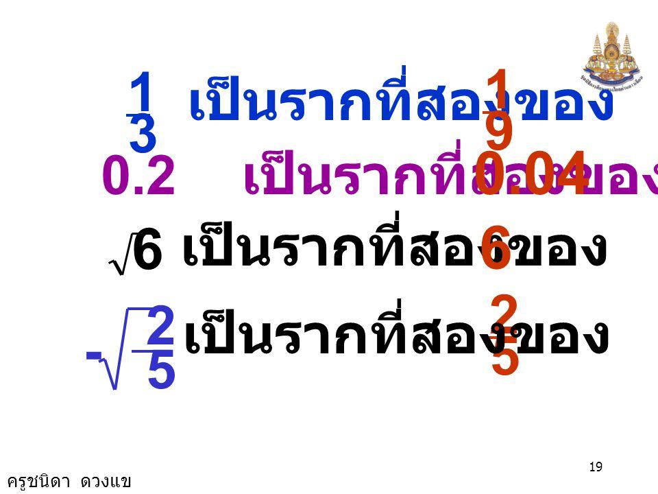 ครูชนิดา ดวงแข 18 จำนวนต่อไปนี้ เป็นรากที่สองของ จำนวนใด 0 เป็นรากที่สองของ 1 เป็นรากที่สองของ 4 เป็นรากที่สองของ 0 1 -3 เป็นรากที่สองของ 9 16