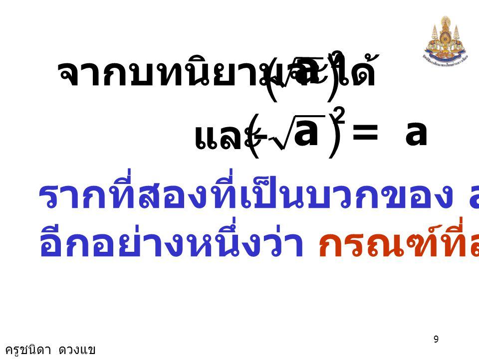 ครูชนิดา ดวงแข 8 ถ้า a เป็นจำนวนจริงบวก รากที่สอง ของ a มีสองราก คือ รากที่สองที่เป็นบวก ซึ่งแทนด้วย สัญลักษณ์ รากที่สองที่เป็นลบ ซึ่งแทนด้วย สัญลักษณ