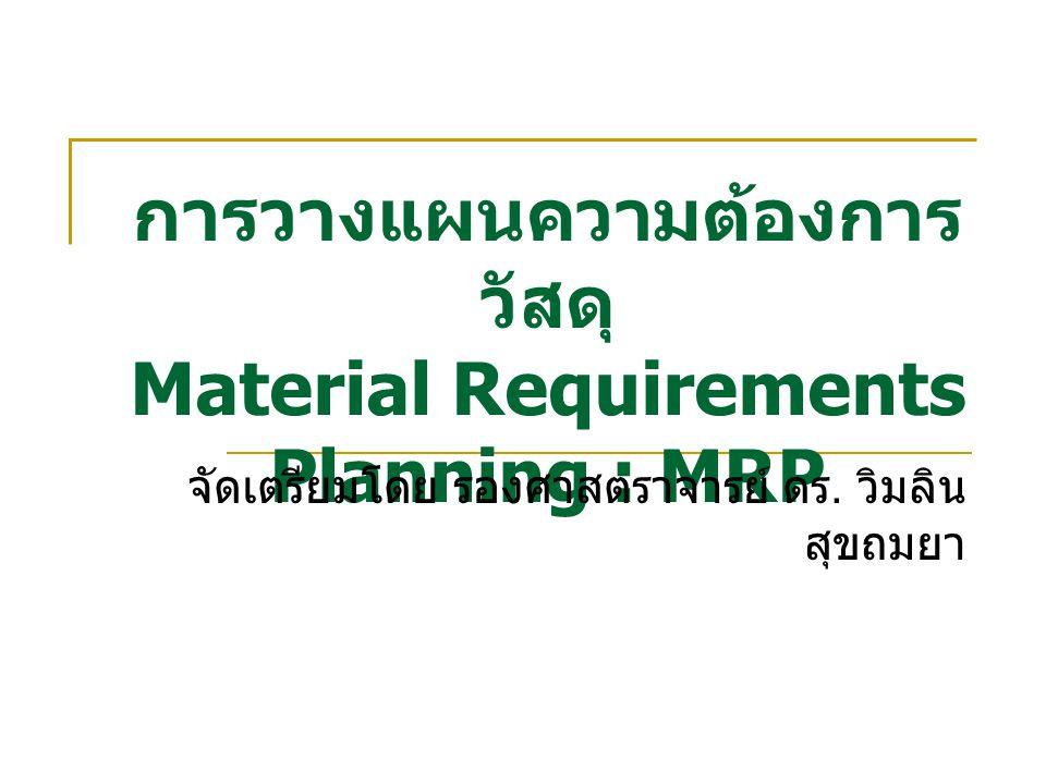 การวางแผนความต้องการ วัสดุ Material Requirements Planning : MRP จัดเตรียมโดย รองศาสตราจารย์ ดร.