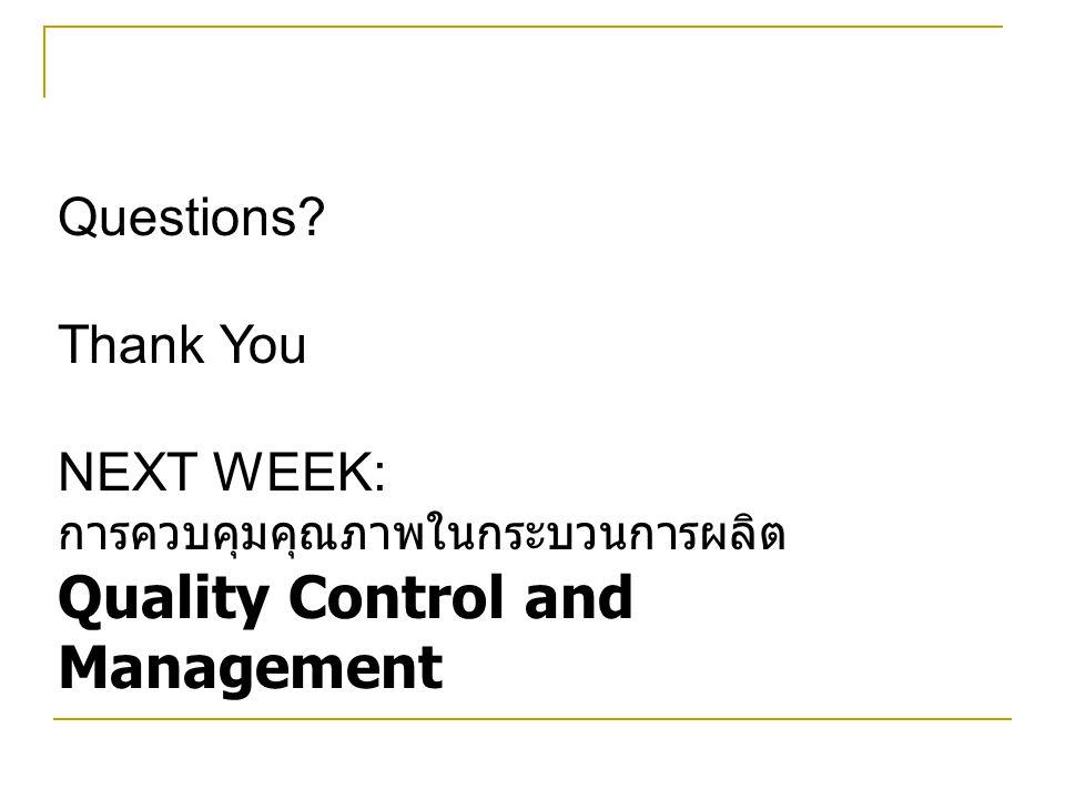 Questions? Thank You NEXT WEEK: การควบคุมคุณภาพในกระบวนการผลิต Quality Control and Management