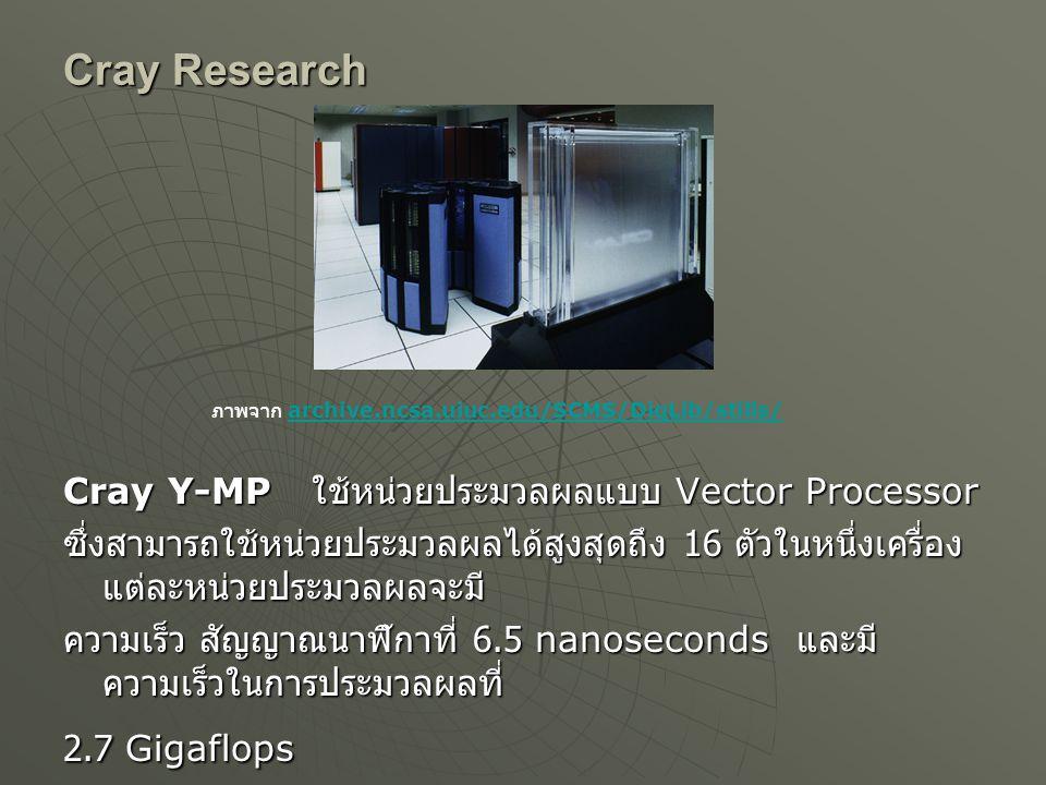 Cray Research Cray Y-MP ใช้หน่วยประมวลผลแบบ Vector Processor ซึ่งสามารถใช้หน่วยประมวลผลได้สูงสุดถึง 16 ตัวในหนึ่งเครื่อง แต่ละหน่วยประมวลผลจะมี ความเร็ว สัญญาณนาฬิกาที่ 6.5 nanoseconds และมี ความเร็วในการประมวลผลที่ 2.7 Gigaflops ภาพจาก archive.ncsa.uiuc.edu/SCMS/DigLib/stills/ archive.ncsa.uiuc.edu/SCMS/DigLib/stills/