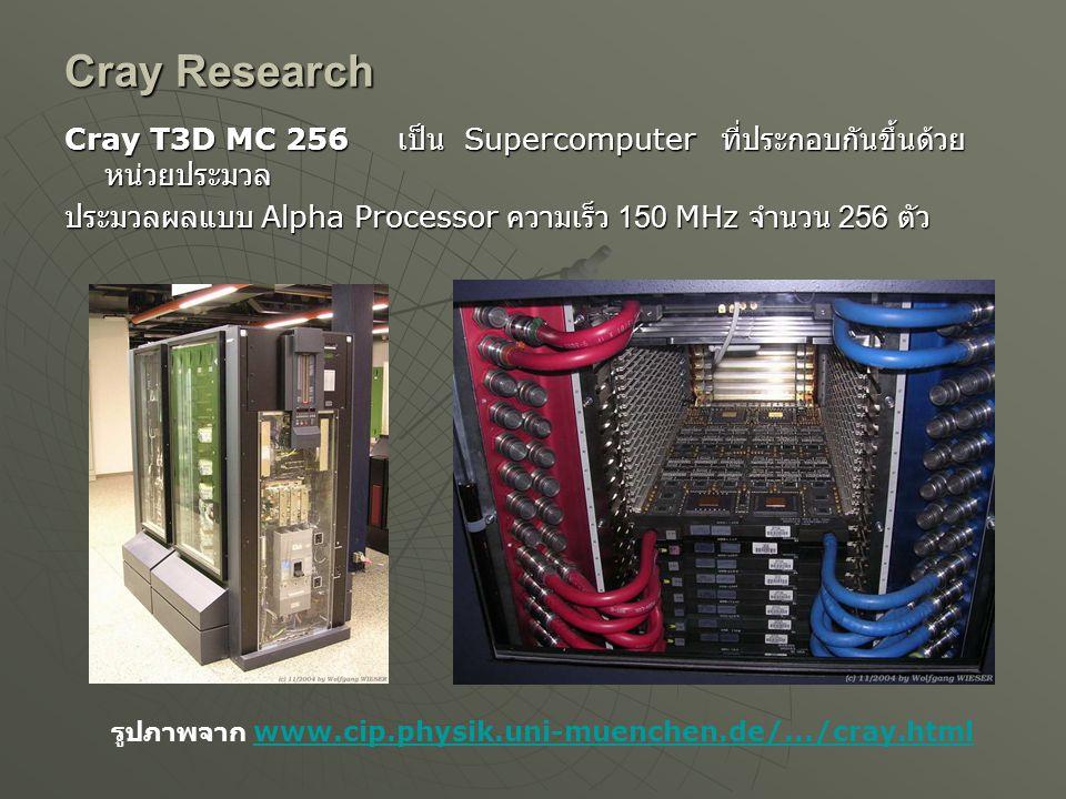 Cray Research Cray T3D MC 256 เป็น Supercomputer ที่ประกอบกันขึ้นด้วย หน่วยประมวล ประมวลผลแบบ Alpha Processor ความเร็ว 150 MHz จำนวน 256 ตัว รูปภาพจาก www.cip.physik.uni-muenchen.de/.../cray.htmlwww.cip.physik.uni-muenchen.de/.../cray.html