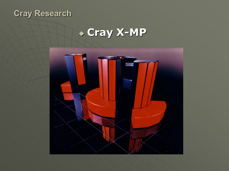 Cray Research Cray T3E เป็น Supercomputer แบบ massively parallel มีการจัด จำหน่ายโดย Cray research ตั้งแต่ปี 1995 มีการออกแบบให้ใช้หน่วยประมลผลจำนวน ตั้งแต่ 8 จนถึง 2178 หน่วย o 272 300 MHz Alpha 21164 CPUs o 600 MFLOPS peak per CPU o 8 KB L1 data cache, direct-mapped, 4-word line o 96 KB L2 data cache, 3-way set associative, 8-word line o 32.5 GB of RAM ข้อมูลจาก manila.cats.rwth-aachen.de/mech525/crayt3e manila.cats.rwth-aachen.de/mech525/crayt3e