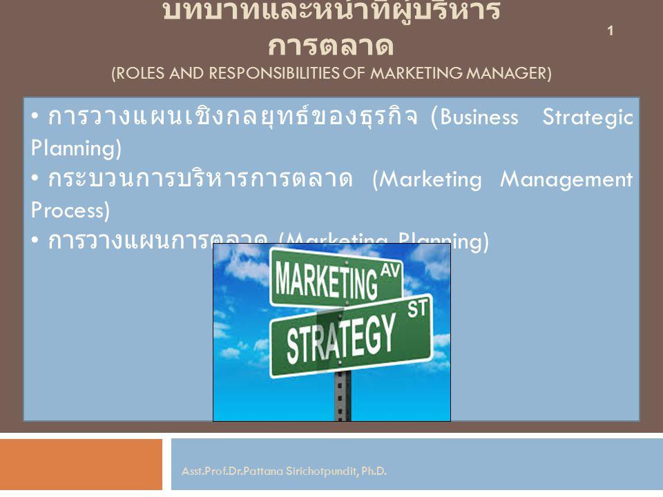 บทบาทและหน้าที่ผู้บริหาร การตลาด (ROLES AND RESPONSIBILITIES OF MARKETING MANAGER) การวางแผนเชิงกลยุทธ์ของธุรกิจ (Business Strategic Planning) กระบวนการบริหารการตลาด (Marketing Management Process) การวางแผนการตลาด (Marketing Planning) 1 Asst.Prof.Dr.Pattana Sirichotpundit, Ph.D.