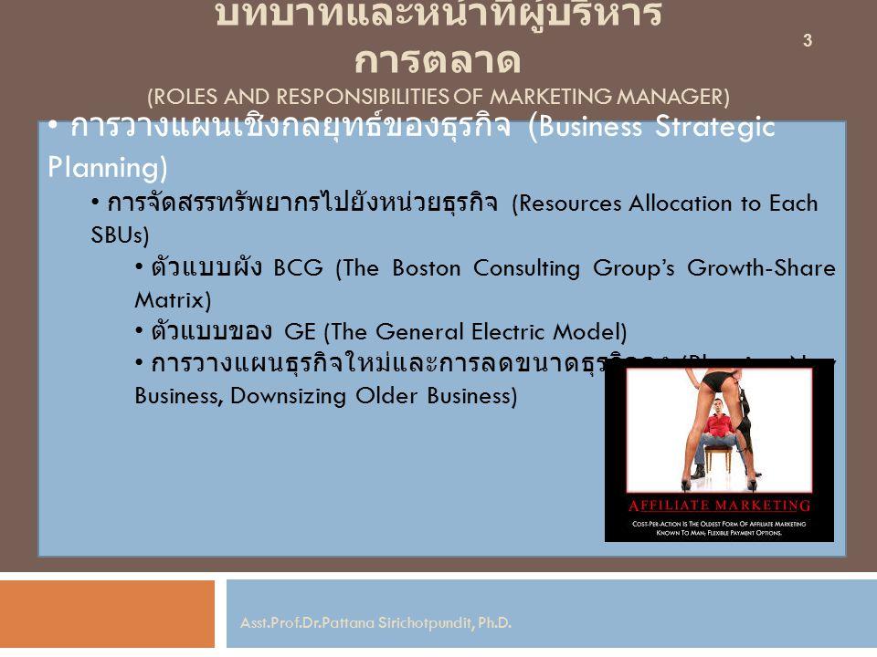 บทบาทและหน้าที่ผู้บริหาร การตลาด (ROLES AND RESPONSIBILITIES OF MARKETING MANAGER) การวางแผนเชิงกลยุทธ์ของธุรกิจ (Business Strategic Planning) การจัดสรรทรัพยากรไปยังหน่วยธุรกิจ (Resources Allocation to Each SBUs) ตัวแบบผัง BCG (The Boston Consulting Group's Growth-Share Matrix) ตัวแบบของ GE (The General Electric Model) การวางแผนธุรกิจใหม่และการลดขนาดธุรกิจลง (Planning New Business, Downsizing Older Business) 3 Asst.Prof.Dr.Pattana Sirichotpundit, Ph.D.