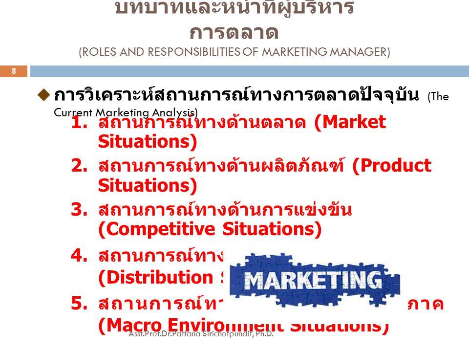 1.สถานการณ์ทางด้านตลาด (Market Situations) 2. สถานการณ์ทางด้านผลิตภัณฑ์ (Product Situations) 3.