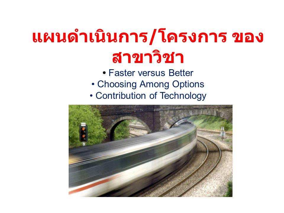แผนดำเนินการ / โครงการ ของ สาขาวิชา Faster versus Better Choosing Among Options Contribution of Technology
