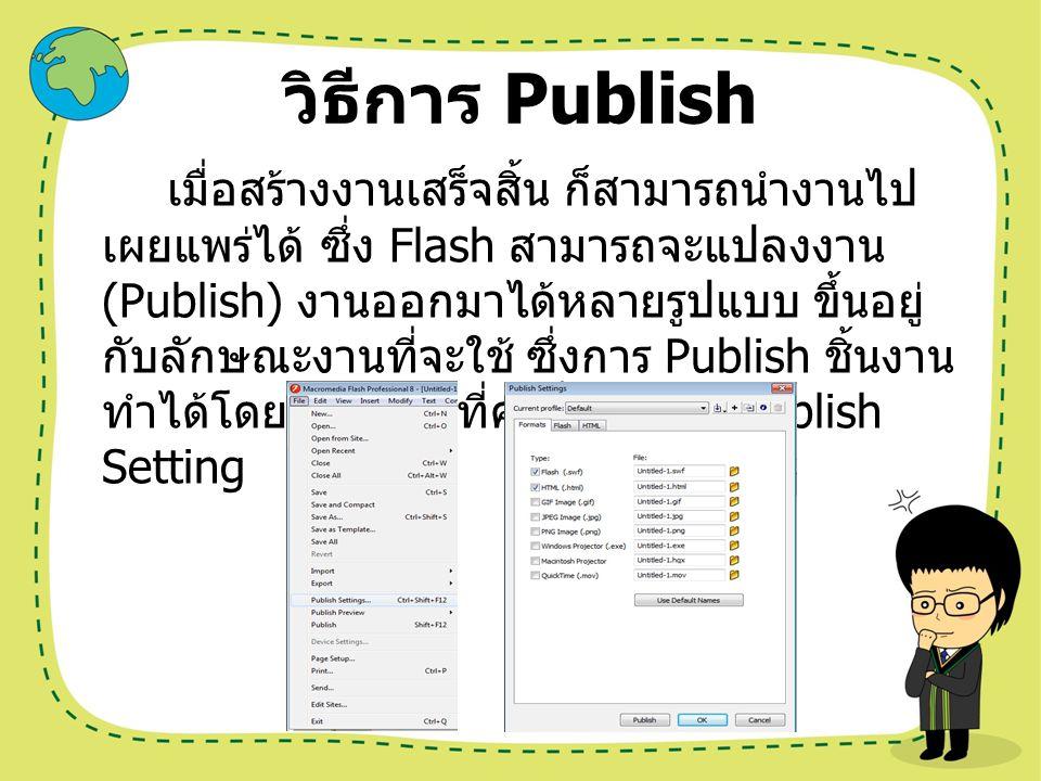 ชนิดของไฟล์ที่โปรแกรม Flash ชนิดของไฟล์ที่โปรแกรม Flash ทำการ Publish ให้ เป็นหลักประกอบด้วย *.swf คือ ไฟล์ชิ้นงานที่สั่ง Publish เป็นประเภท Shockwave Flash สามารถใช้ได้กับโปรแกรม Flash Player, Internet Explorer *.html คือ ไฟล์ชิ้นงานที่สั่ง Publish สามารถใช้ได้ กับโปรแกรม Internet Explorer หรือ Browser แล้ว สามารถทำงานผ่านระบบ Internet ได้ นอกจากนั้นโปรแกรมยังสามารถให้ผู้ใช้เลือก Publish ได้อีก 6 ชนิด ตามความต้องการของผู้ใช้ดังนี้ *.gif คือ ไฟล์ภาพที่สามารถแสดงเป็น ภาพเคลื่อนไหวได้