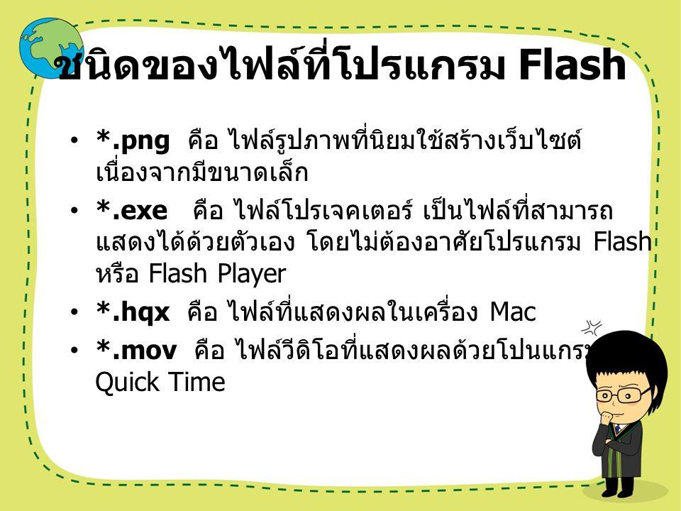 ชนิดของไฟล์ที่โปรแกรม Flash *.png คือ ไฟล์รูปภาพที่นิยมใช้สร้างเว็บไซต์ เนื่องจากมีขนาดเล็ก *.exe คือ ไฟล์โปรเจคเตอร์ เป็นไฟล์ที่สามารถ แสดงได้ด้วยตัว