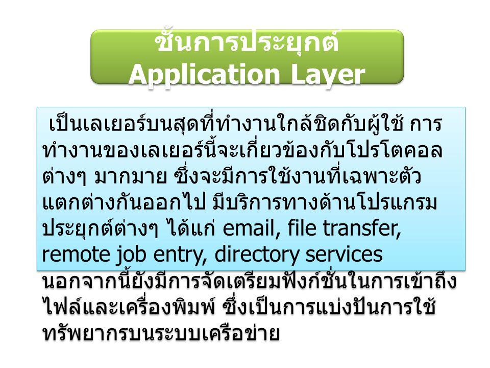 ชั้นการประยุกต์ Application Layer เป็นเลเยอร์บนสุดที่ทำงานใกล้ชิดกับผู้ใช้ การ ทำงานของเลเยอร์นี้จะเกี่ยวข้องกับโปรโตคอล ต่างๆ มากมาย ซึ่งจะมีการใช้งานที่เฉพาะตัว แตกต่างกันออกไป มีบริการทางด้านโปรแกรม ประยุกต์ต่างๆ ได้แก่ email, file transfer, remote job entry, directory services นอกจากนี้ยังมีการจัดเตรียมฟังก์ชั่นในการเข้าถึง ไฟล์และเครื่องพิมพ์ ซึ่งเป็นการแบ่งปันการใช้ ทรัพยากรบนระบบเครือข่าย