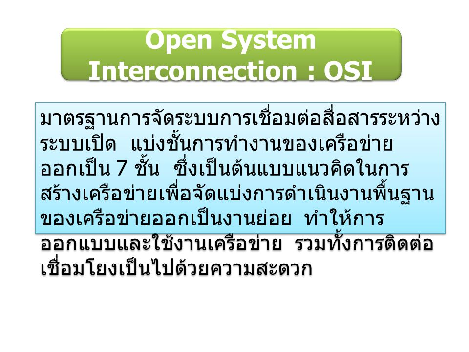 Open System Interconnection : OSI มาตรฐานการจัดระบบการเชื่อมต่อสื่อสารระหว่าง ระบบเปิด แบ่งชั้นการทำงานของเครือข่าย ออกเป็น 7 ชั้น ซึ่งเป็นต้นแบบแนวคิดในการ สร้างเครือข่ายเพื่อจัดแบ่งการดำเนินงานพื้นฐาน ของเครือข่ายออกเป็นงานย่อย ทำให้การ ออกแบบและใช้งานเครือข่าย รวมทั้งการติดต่อ เชื่อมโยงเป็นไปด้วยความสะดวก