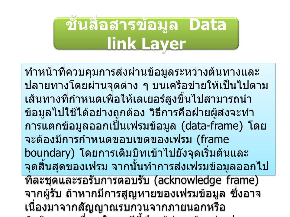 ชั้นสื่อสารข้อมูล Data link Layer ทำหน้าที่ควบคุมการส่งผ่านข้อมูลระหว่างต้นทางและ ปลายทางโดยผ่านจุดต่าง ๆ บนเครือข่ายให้เป็นไปตาม เส้นทางที่กำหนดเพื่อ