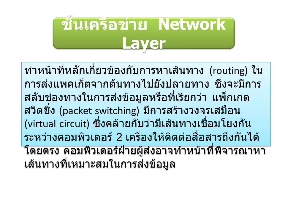 ชั้นเครือข่าย Network Layer ทำหน้าที่หลักเกี่ยวข้องกับการหาเส้นทาง (routing) ใน การส่งแพคเก็ตจากต้นทางไปยังปลายทาง ซึ่งจะมีการ สลับช่องทางในการส่งข้อมูลหรือที่เรียกว่า แพ็กเกต สวิตชิ่ง (packet switching) มีการสร้างวงจรเสมือน (virtual circuit) ซึ่งคล้ายกับว่ามีเส้นทางเชื่อมโยงกัน ระหว่างคอมพิวเตอร์ 2 เครื่องให้ติดต่อสื่อสารถึงกันได้ โดยตรง คอมพิวเตอร์ฝ่ายผู้ส่งอาจทำหน้าที่พิจารณาหา เส้นทางที่เหมาะสมในการส่งข้อมูล