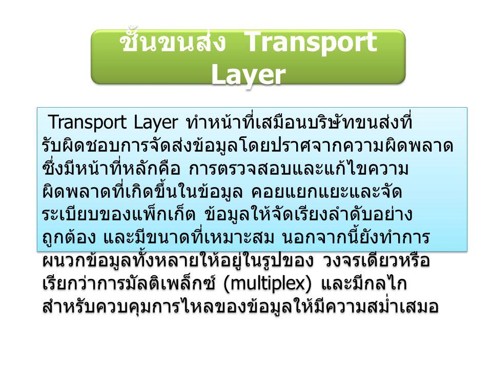ชั้นขนส่ง Transport Layer Transport Layer ทำหน้าที่เสมือนบริษัทขนส่งที่ รับผิดชอบการจัดส่งข้อมูลโดยปราศจากความผิดพลาด ซึ่งมีหน้าที่หลักคือ การตรวจสอบและแก้ไขความ ผิดพลาดที่เกิดขึ้นในข้อมูล คอยแยกแยะและจัด ระเบียบของแพ็กเก็ต ข้อมูลให้จัดเรียงลำดับอย่าง ถูกต้อง และมีขนาดที่เหมาะสม นอกจากนี้ยังทำการ ผนวกข้อมูลทั้งหลายให้อยู่ในรูปของ วงจรเดียวหรือ เรียกว่าการมัลติเพล็กซ์ (multiplex) และมีกลไก สำหรับควบคุมการไหลของข้อมูลให้มีความสม่ำเสมอ