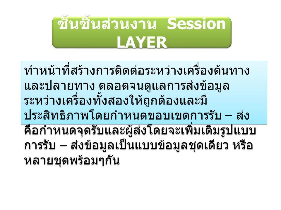 ชั้นชิ้นส่วนงาน Session LAYER ทำหน้าที่สร้างการติดต่อระหว่างเครื่องต้นทาง และปลายทาง ตลอดจนดูแลการส่งข้อมูล ระหว่างเครื่องทั้งสองให้ถูกต้องและมี ประสิทธิภาพโดยกำหนดขอบเขตการรับ – ส่ง คือกำหนดจุดรับและผู้ส่งโดยจะเพิ่มเติมรูปแบบ การรับ – ส่งข้อมูลเป็นแบบข้อมูลชุดเดียว หรือ หลายชุดพร้อมๆกัน