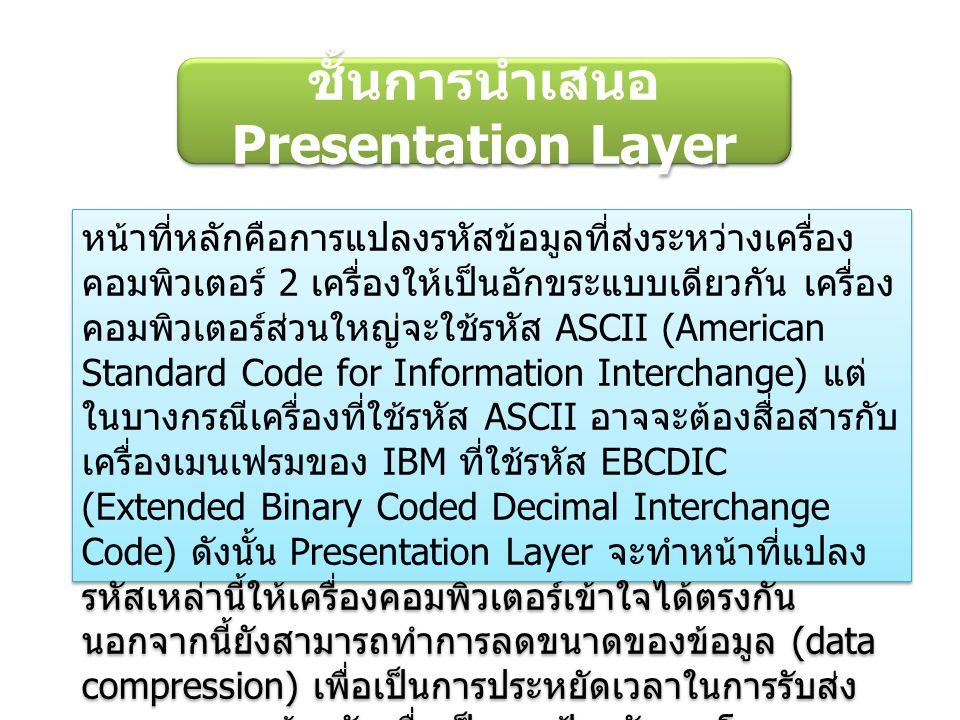 ชั้นการนำเสนอ Presentation Layer หน้าที่หลักคือการแปลงรหัสข้อมูลที่ส่งระหว่างเครื่อง คอมพิวเตอร์ 2 เครื่องให้เป็นอักขระแบบเดียวกัน เครื่อง คอมพิวเตอร์ส่วนใหญ่จะใช้รหัส ASCII (American Standard Code for Information Interchange) แต่ ในบางกรณีเครื่องที่ใช้รหัส ASCII อาจจะต้องสื่อสารกับ เครื่องเมนเฟรมของ IBM ที่ใช้รหัส EBCDIC (Extended Binary Coded Decimal Interchange Code) ดังนั้น Presentation Layer จะทำหน้าที่แปลง รหัสเหล่านี้ให้เครื่องคอมพิวเตอร์เข้าใจได้ตรงกัน นอกจากนี้ยังสามารถทำการลดขนาดของข้อมูล (data compression) เพื่อเป็นการประหยัดเวลาในการรับส่ง และสามารถเข้ารหัสเพื่อเป็นการป้องกันการโจรกรรม ข้อมูลได้อีกด้วย