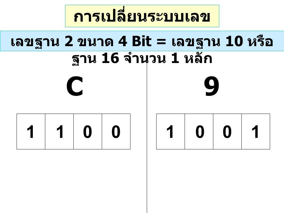 การเปลี่ยนระบบเลข ฐาน เลขฐาน 2 ขนาด 4 Bit = เลขฐาน 10 หรือ ฐาน 16 จำนวน 1 หลัก 9C 01011100