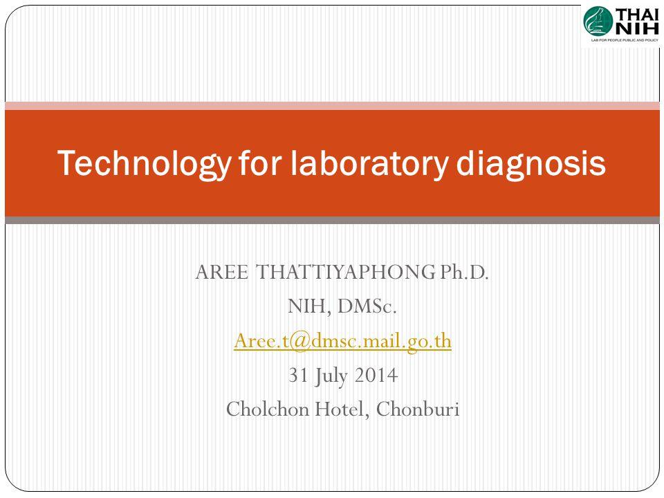 AREE THATTIYAPHONG Ph.D. NIH, DMSc. Aree.t@dmsc.mail.go.th 31 July 2014 Cholchon Hotel, Chonburi Technology for laboratory diagnosis